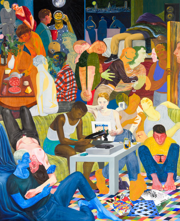Nicole Eisenman, Another Green World, 2015, oil on canvas, 128 x 106 inches, courtesy the artist and Anton Kern Gallery, New York.