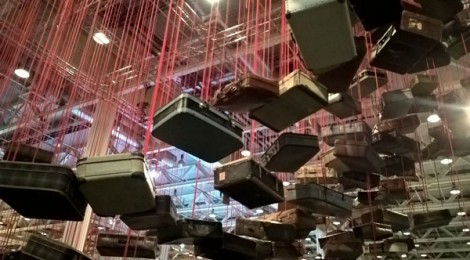 "Chiharu Shiota's installation @ AB's Unlimited section, ""Accumulation:  Searching for Destination."""