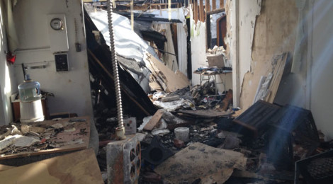 Christian Cummings's studio after a fire, Pasadena, 2013, courtesy of the artist