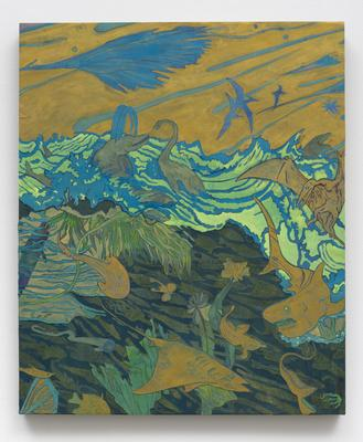Aaron Morse, Mesozoic Ocean, 2015, acrylic & collage on canvas over panel, 30x25 in.