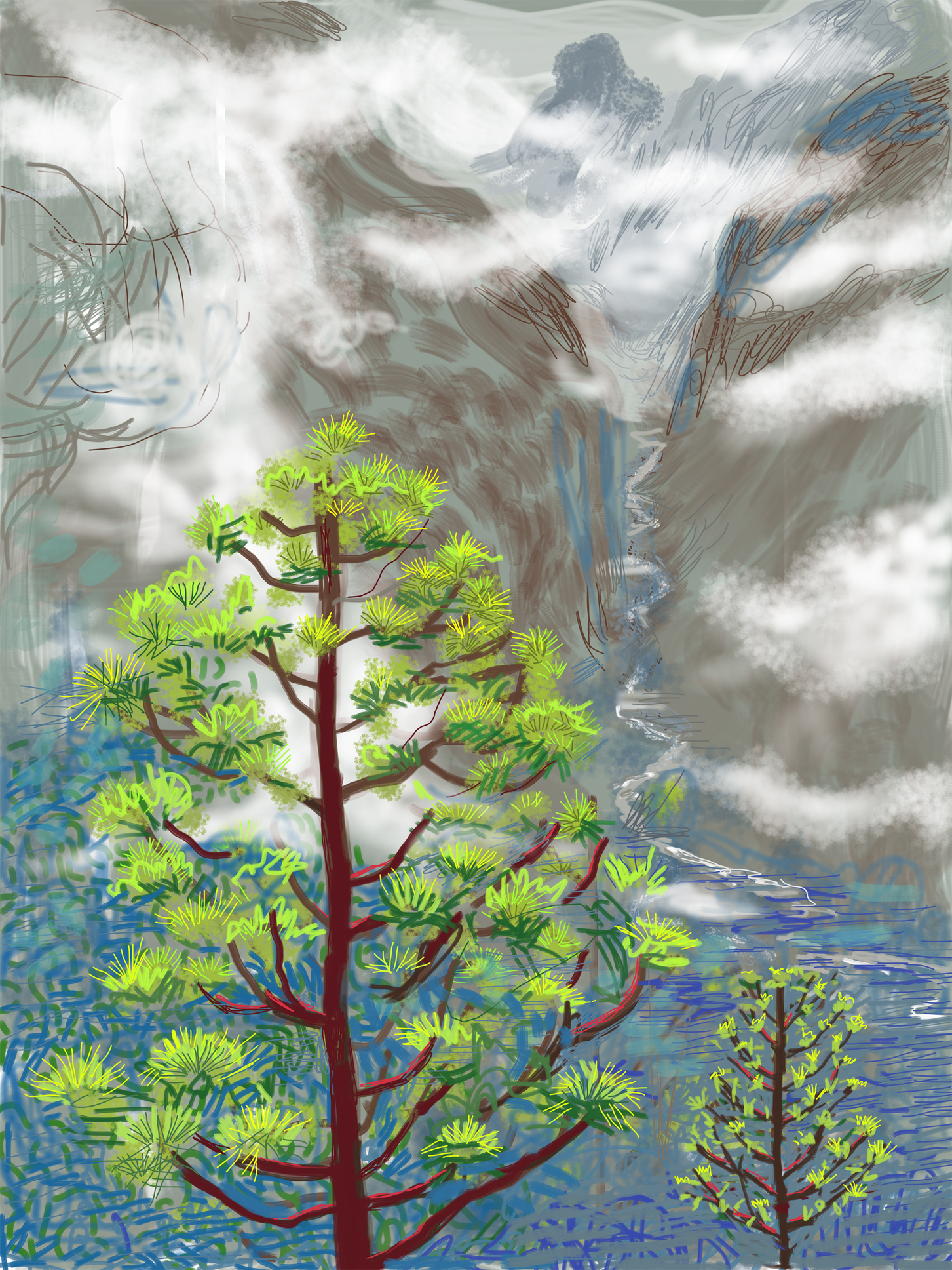 David Hockney, Yosemite I, October 5th 2011, © David Hockney,  courtesy of the artist and LA Louver.