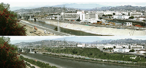 L.A. River before and after installation of an inflatable rubber dam at the Spring Street Bridge, ©Lane Barden
