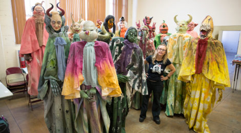Marnie Weber with monster cast from The Day of Forevermore, photo by LeeAnn Nickel and courtesy of the artist and Gavlak, Los Angeles.