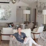 Beth Rudin DeWoody in Palm Beach home with chairs by Campana Brothers, Jeff Koons pail and François-Xavier Lalanne sheep, photograph by Firooz Zahedi.