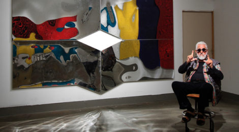 Ed Moses in his studio, photo by Rob Brander, courtesy William Turner Gallery.