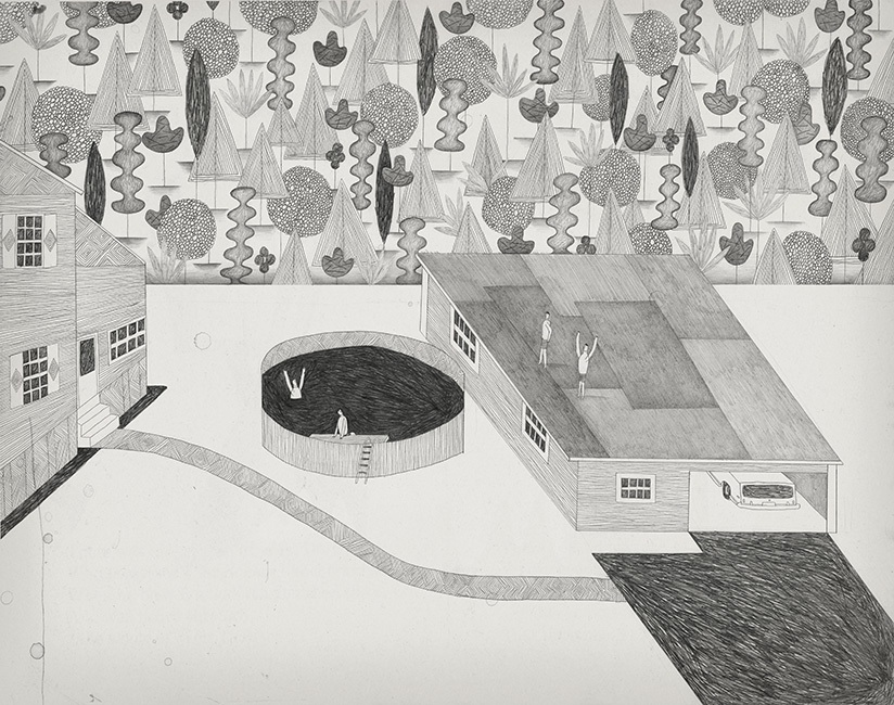 """Brian Rea, """"Backflip,"""" graphite on paper,  courtesy CMay Gallery"""