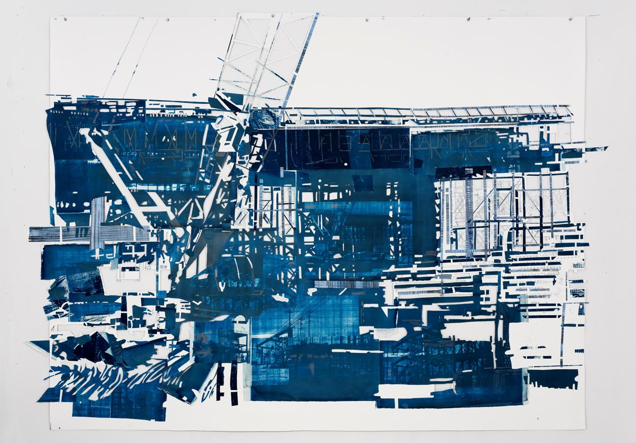 """Fran Siegel, """"Bridge 01,"""" pigment, ink, graphite & cyanotype on cut and collaged paper, 82 x 109 in., 2016"""