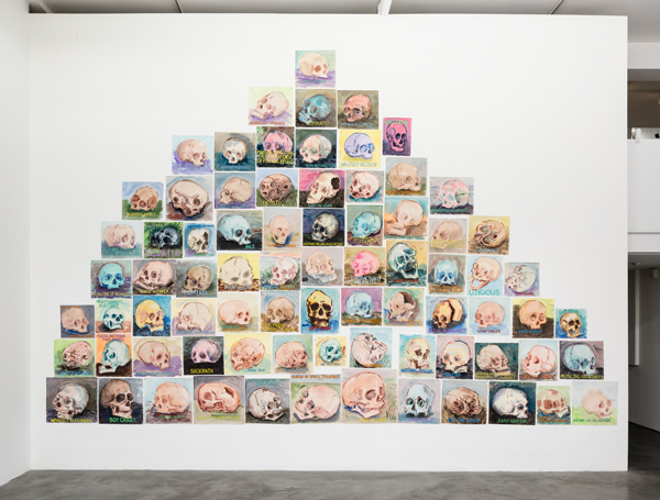 "Installation view of Guy Richards Smit's ""A Mountain of Skulls And Not One I Recognize"" at Charlie James Gallery, Los Angeles, Feb-March 2016. Image courtesy of the artist and Charlie James Gallery, Los Angeles. Photo by Michael Underwood."