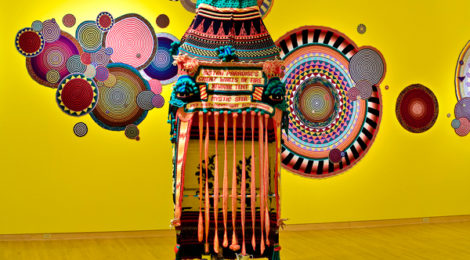 Xenobia Bailey, Sistah Paradise's Great Wall of Fire Revival Tent,1993-ongoing, cotton and acrylic yarn, metal frame, electrical tape, shells, courtesy of the artist.