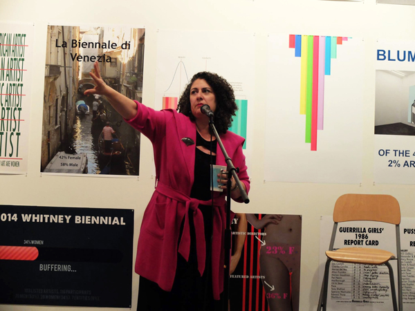 """Russin at LACE exhibition: """"(en)Gendered (in)Equity: The Gallery Tally Poster Project,"""" organized by Micol Hebron, 2016."""
