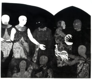 Belkis Ayón, Perfidia (Perfidy), 1998. Collograph. Collection of the Belkis Ayón Estate.