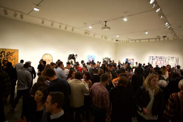 The throngs at L.A. Louver Roll Call opening, courtesy of L.A. Louver Gallery, Venice