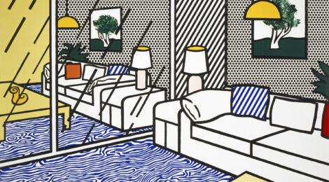 Roy Lichtenstein, Wallpaper with Blue Floor Interior, 1992, ©Estate of Roy Lichtenstein/Gemini G.E.L., courtesy of the Jordan Schnitzer Family Foundation, Skirball Cultural Center, Los Angeles