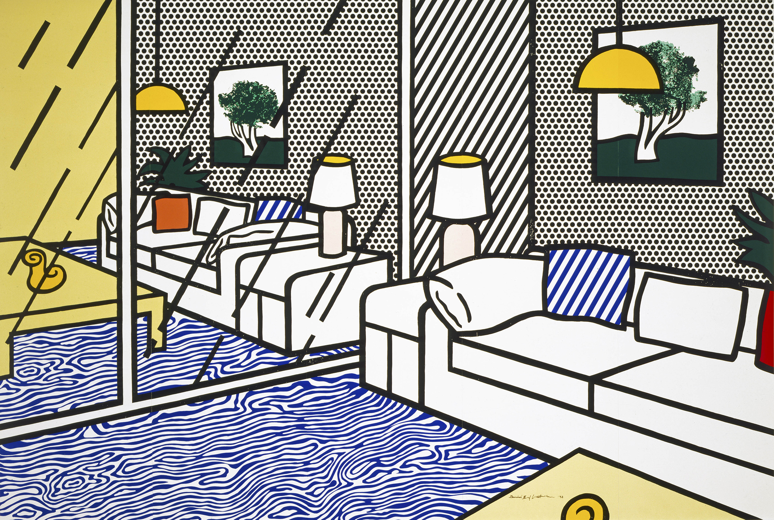 Roy Lichtenstein, Wallpaper with Blue Floor Interior, 1992, ©Estate of Roy Lichtenstein/Gemini G.E.L., courtesy of the Jordan Schnitzer Family Foundation, Skirball Cultural Center, Los Angeles