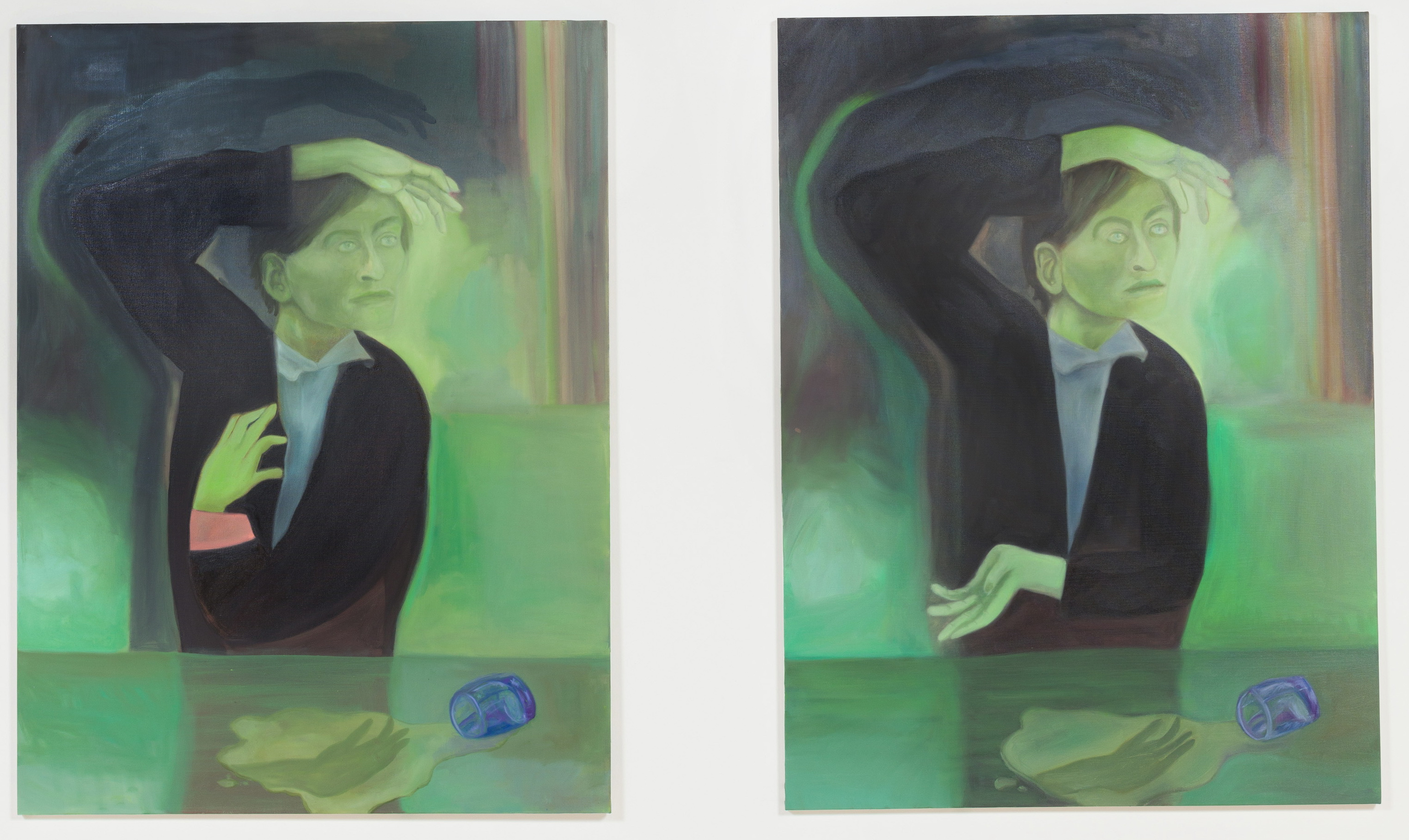 Jill Mulleady, The Green Room, I (2017); The Green Room, II (2017), ©Jill Mulleady, courtesy of the artist and Freedman Fitzpatrick Gallery, Los Angeles.