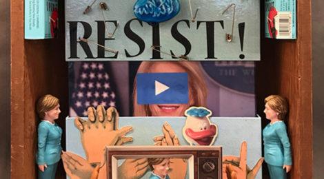 "Dwora Fried, Resist, 2017, mixed media assemblage, 15"" x 14.5"" x 5"""