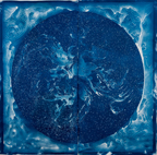 AHalloran NEBULAE AFTER WILLIAMINA FLEMING 2016 Cyanotype print painted negative on paper 76 x 76 in large Events