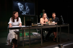 Maura Tierney Ari Fliakos and Greg Mehrten in The Wooster Groups  The Town Hall Affair.  Photo by Steven Gunther 300x200 Oedipus Wrecked – The Town Hall Affair