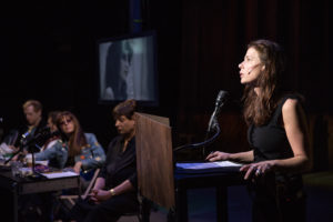Maura Tierney foreground in The Wooster Groups  The Town Hall Affair.  Photo by Steven Gunther 300x200 Oedipus Wrecked – The Town Hall Affair