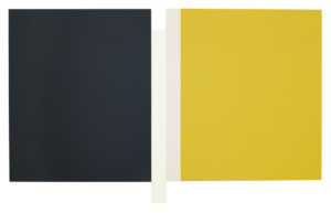 Scot Heywood Sunyata Gray White Canvas Yellow acrylic on canvas 300x193 <h6 class=sub>Peter Blake Gallery: </h6><h1 class=post title entry title>Scot Heywood</h1>