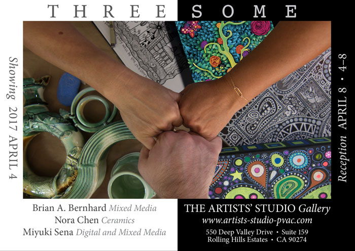 Threesome Flier Twitter Threesome   a South Bay art opening!
