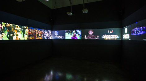 Rimini Protokoll (Helgard Kim Haug, Stefan Kaegi, Daniel Wetzel), 100% City, 2008-16, HD video, Installation view at Museum of Contemporary Art Santa Barbara, 2017, Video concept & realization by Marc Jungreithmeier, Courtesy the Artists. Photo: Brett Bollier