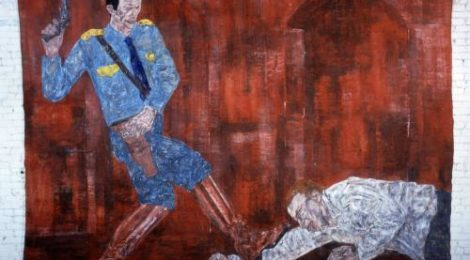 Leon Golub, White Squad V (1984), courtesy of the artist and The Broad Museum.