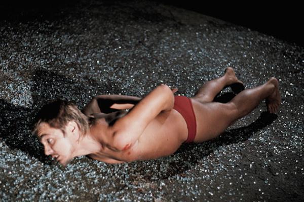 Chris Burden's Through the Night Softly, 1973 performance for TV consumption. [Never did art cross boundaries...]