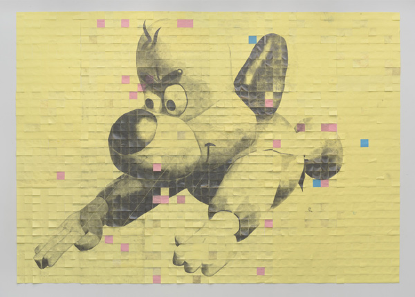 Kristen Morgin, There's No Need To Fear (2017), graphite on Post-It notes with fan, 102 x 144 inches, courtesy of the artist and Marc Selwyn Fine Art. Photo: Robert Wedemeyer.