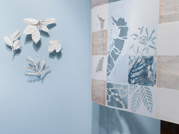 Fran Siegel, Lineage through Landscape: Tracing Egun in Brazil (2015–2017), Suspended Drawing: pencil, pigment, gold leaf, string, and collage on cut drafting film, scrim, cyanotype, sewn and printed fabric. Leaves: porcelain. Length (drawing): 10.97 m. Commissioned by the Fowler Museum at UCLA. Collection of the artist. Photo: Don Cole.