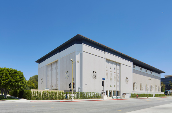 Façade of Marciano Foundation on Wilshire Blvd., Los Angeles, courtesy of Marciano Art Foundation.