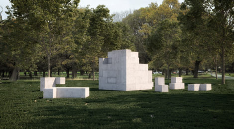 Jose Dávila, Sense of Place, 2017. Concrete, 40 pieces, Overall: 8'x8'x8', individual dimensions variable.  Courtesy of Estudio Jose Dávila, 2017