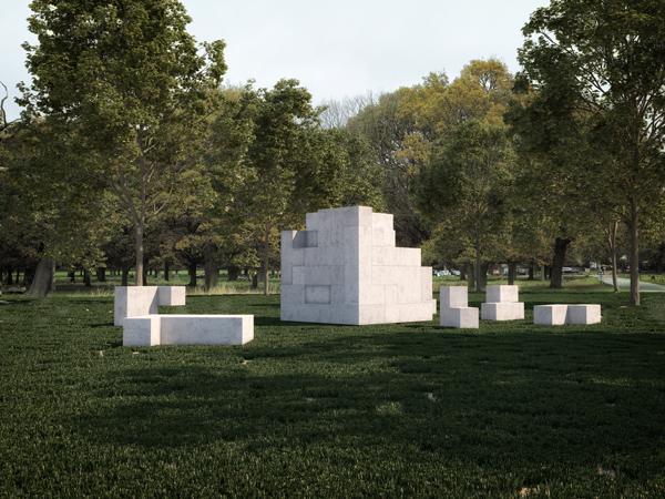 Jose Dávila, Sense of Place, 2017. Concrete, 40 pieces, Overall: 8'x8'x8', individual dimensions variable.  Courtesy of Estudio Jose Dávila, 2017