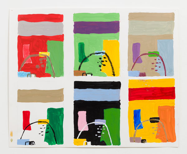 MC 6 Paintings Same Composition 4 Hues MC 6 Paintings Different Titles After Corbusier2017 14 x 17 in 600 Meg Cranston