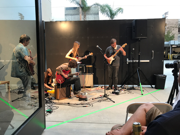 """The five-member musical collective """"The Divinity Band"""" performs at L.A. Louver."""