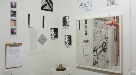"""The Curated Loo: The Dick Pic Show,"" curated by Katie Bode and Kenton Parker, installation view, photo by Ruben Diaz, courtesy Chimento Contemporary."