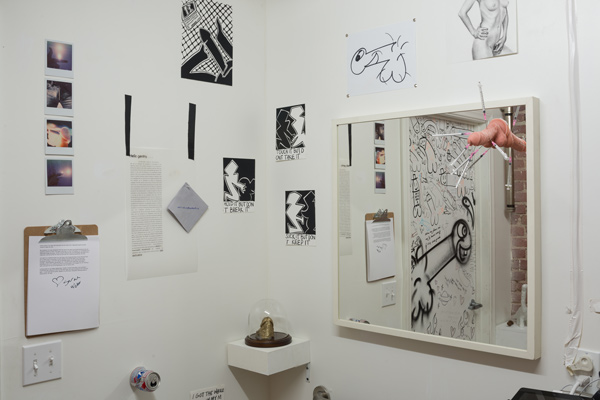 """""""The Curated Loo: The Dick Pic Show,"""" curated by Katie Bode and Kenton Parker, installation view, photo by Ruben Diaz, courtesy Chimento Contemporary."""