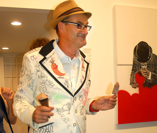 Greg at his Chinatown gallery, 2015, photo by Lynda Burdick.