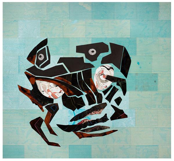 Ellen Gallagher, Aquajujidsu (2017). Oil, ink and paper on canvas. 188 x 202 cm / 74 x 79 1/2 in. © Ellen Gallagher. Courtesy the artist and Hauser & Wirth. Photo: Ernst Moritz