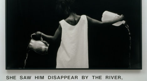 Lorna Simpson (American, born 1960). Waterbearer, 1986. Gelatin silver print with vinyl lettering, 59 × 80 × 2¼ in. (149.9 × 203.2 × 5.7 cm). Courtesy of Lorna Simpson. © 1986 Lorna Simpson