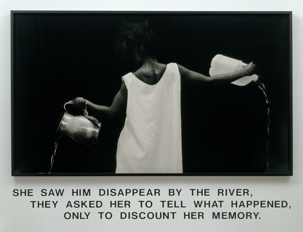 Lorna Simpson (American, born 1960). Waterbearer, 1986. Gelatin silver print with vinyl lettering, 59 × 80 × 2¼ in. (149.9 × 203.2 × 5.7 cm). Courtesy of Lorna Simpson. © 1986 Lorna Simpson