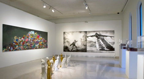 """ONE YEAR: The Art of Politics in Los Angeles."" Installation view, courtesy of Brand Library & Art Center."