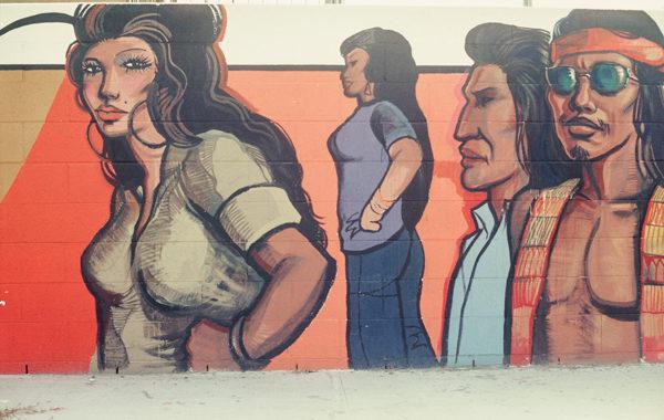 details from Sergio O'Cadiz' Moctezuma, Fountain Valley Mural, 1974–76; destroyed 2001; Calle Zaragoza, Colonia Juarez, Fountain Valley.