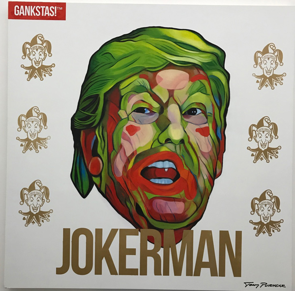 "Jokerman from artist Tony Puryear's weekend pop-up, ""gankstas! Know Your Thug,"" at Jason Vass in DTLA."