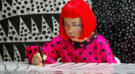 Artist Yayoi Kusama drawing in KUSAMA - INFINITY. © Tokyo Lee Productions, Inc. Courtesy of Magnolia Pictures.