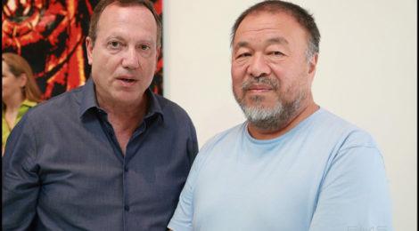 Stephen Goldberg with Ai Weiwei at Deitch opening, photo by Eric Minh Swenson