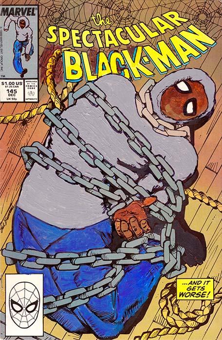 KB 100 Kumasi J. Barnett Spectacular Black Man 145 Acrylic marker pen and oil marker on comic book 9 3 4h x 6 1 4w inches web artillery <ns>Calendar</ns>