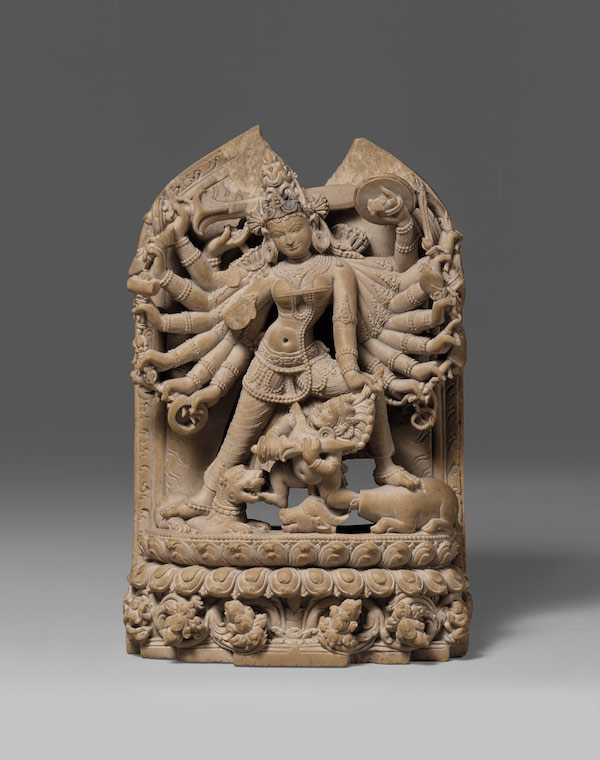 """The Goddess Durga Slaying the Demon Buffalo Mahisha,"" 12th century, Bangladesh or India (Bengal), Argillite, 5 5/16 in. (H) x 3 1/2 in. (W), presently at The Met, NY."