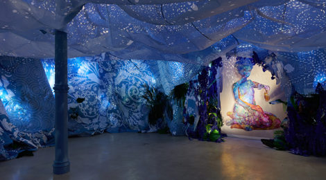 Firelei Baez, A Drexcyen chronocommons (To win the war you fought it sideways), installation view (2019) photo Phoebe d'Heurle, courtesy the artist and James Cohan, New York.