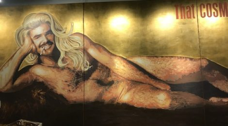 FOUND:RE Hotel Burt Reynolds mural in lobby. Photo by Genie Davis.